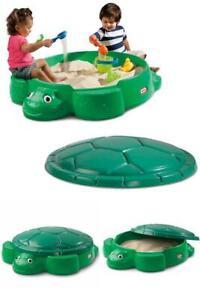 Little Tikes Turtle Sandbox Kids Plastic Outdoor Sandbox + Cover Playground