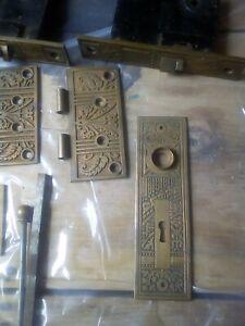Vintage lot ornate Victorian door and hinge hardware Corbin doorsets 10 pieces