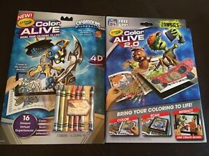 New Lot 2 Crayola Color Alive Skylanders & Zombies Coloring Book With Crayons