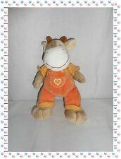S - Doudou Peluche Vache Beige Salopette Orange  Mots d'Enfants 25 cm