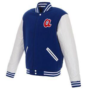 MLB Atlanta Braves Reversible Fleece Jacket PVC Sleeves Vintage Logos