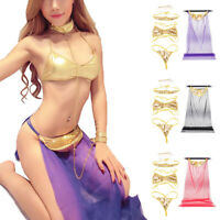 Sexy Charm Slave Costume Cosplay See-through Long Skirt For Women Bra Briefs Set
