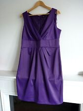 Ladies Lovely F+F Purple Knee Length V Wrap Sleeveless Party Dress Size 18, Vgc