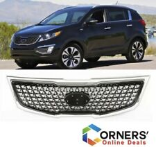 Fits Kia Sportage 2011 2015 Front Upper Factory Grill Black Mesh Chrome Grille