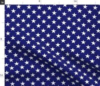 White Blue Stars Navy Midnight Spoonflower Fabric by the Yard