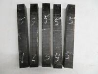 (5) 5 PCS. EBONY POOL CUE, TURNING WOOD, GUN KNIFE SCALES  1-1/2 x 1-1/2 x 12""