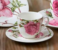 Mokka Espresso Tasse + Untertasse Redoute Rose Knochenporzellan Josephine