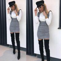 NEW Womens Ladies Check Pinafore Pinafor Dress Tartan Grey Bodycon Mini Dress