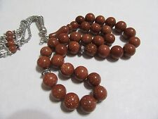 Brown sandstone Goldstone prayer beads-  Komboloi-Tasbih-Masbah 33 beads round