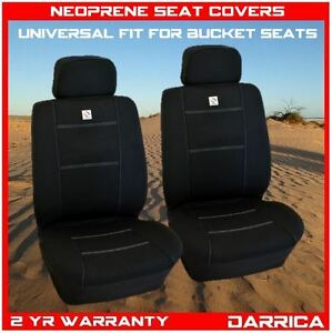 Neoprene Car Seat Covers Universal Fit Front Pair Wet Waterproof Black and White