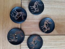 5 High Quality Stag Buttons coconut shell.