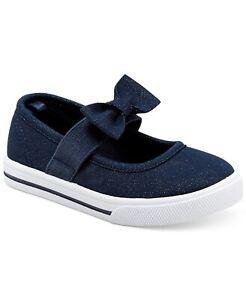NWT Carter's TASHA 2 (toddler 11) Navy Blue Glitter Shoes MaryJanes Bow Elastic