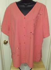 Essentials by Maggie NWT Womens Plus Coral Floral Button Down Shirt Top 22/24W