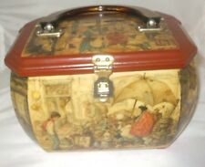 Vintage Anton Pieck Dutch Artist Decoupage Bakelite Handle Wood Handbag