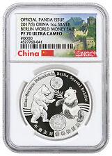 2017 China 1 oz Silver Berlin World Money Fair Panda NGC PF70 UC SKU46181