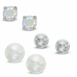 5mm Freshwater Pearl, 4mm Cubic Zirconia Earrings Set in 14K White Gold Over