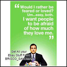 "Fridge Fun Refrigerator Magnet THE OFFICE MICHAEL SCOTT: ""BE AFRAID...LOVE ME"""