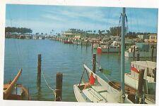 Marina, Boat Docks at CLEARWATER BEACH FL Vintage Florida Postcard
