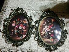 Victorian frames Bubble dome Glass ornate floral picture parlor decor Italy EUC