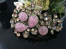 antiqued rhinestone crystal butterfly hair barrette pink-color clip