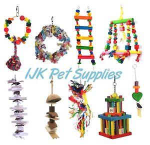 Happy Pet Bird & Parrot Toys Natural Wood & Rope boredom Breaker Preen &  Pluck