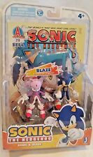 "SONIC Hedgehog & Blaze MIP SEGA 3"" Action Figure Comic Book 2 Pack Jazwares set"