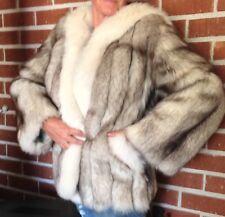 Blue Fox Fur Coat / Jacket Size Small / Med.