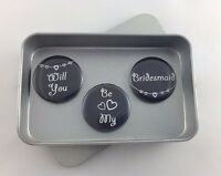 Wedding 'Will You Be My Bridesmaid' Magnet Gift Set with Gift Tin, Handmade