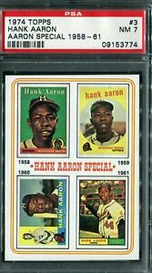 """1974 Topps #3 Hank Aaron """"Aaron Special""""  1958-61 PSA 7 NM"""