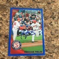 Tomas Telis Signed 2010 Topps Pro Debut Blue Rc Auto Texas Rangers