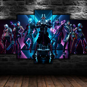Framed Fortnite Season X Out Of Time 5 Piece Canvas Wall Art Print HD Home Decor