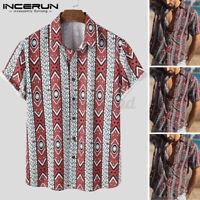Mode Herren Kurzarm Hawaiihemd Beach Fancy Party T-Shirt Blusen Sommer T Shirts