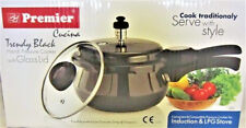 Premier Cucina Trendy Black Handi Pressure Cooker with FREE Glass Lid 5.5 Litre