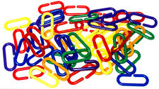 200 pc Plastic C Clips Hooks Chain Links Sugar Glider Rat Parrot Bird Toy Parts