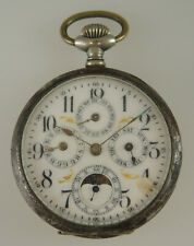 Calendar Moonphase pocket watch. For repair c1910 NO RESERVE