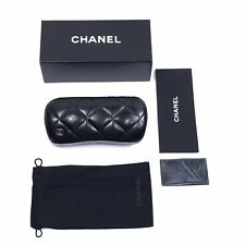 CHANEL Quilted Hard Clamshell Sunglasses Case, Pouch & Cloth Medium/Small New