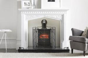 Vintage Decor Victorian Tri-Fold Fireplace Safety Spark Guard Ornate Fire Screen