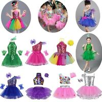 Kids Girl Jazz Dancewear Costume Dress Kids Modern Contemporary Dance Outfit Set