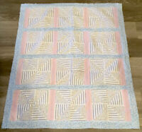 Patchwork Quilt Top, Pinwheel, Triangles, Flannels, Pastels, Heart & Star Prints