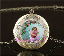 Vintage Cupid holding Heart Cabochon Glass Brass Locket Pendant Necklace