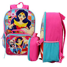 "DC Super Girls School Backpack 16"" + Lunch Bag Catwoman Wonder Woman Supergirl"