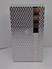 Fujima Silver Diamond Plate Design 100s Size Push-N-Open Plastic Cigarette Case