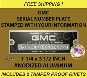 NEW STAMPED GMC SERIAL NUMBER TAG DATA PLATE TRUCK SUBURBAN ID VIN FREE SHIP USA