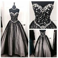 Gothic Beaded Lace Wedding Dresses Black&White Sparkly Crystals Bridal Gowns