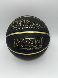 """Wilson NCAA Sensation Black & Gold Indoor Leather Basketball Official Size 29.5"""""""
