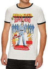 Wrangler Ringer Superhero Brand Logo T-shirt Crew Neck Cotton Tee Top Beige