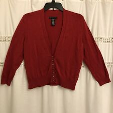 Apostrophe Cardigan Sweater Sz MEDIUM Red Long Sleeve