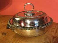 Antique Silver Plated EPNS Round Lidded Water Tank Heated Serving Tureen