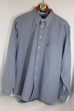 Mens Hathaway Golf Blue Long Sleeve Button Front Shirt 17-1/2 34/35