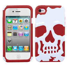APPLE iPHONE 4 4S SKULLCAP HARD COVER+SILICONE HYBRID CASE WHITE/RED